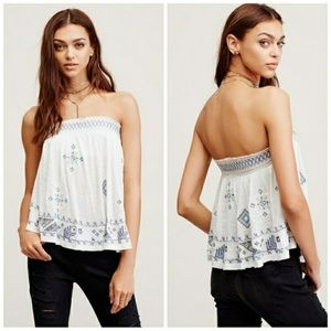 Free people strapless embroidered top